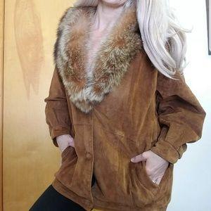 Vintage fox fur trim brown suede jacket coat small